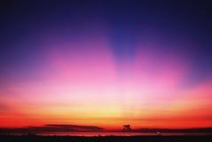 Cena dramática do pôr-do-sol Fotografia de Stock