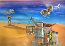 cena dystopian futurista surreal do deserto 3D ilustração do vetor