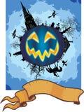 Cena e bandeira de Halloween Fotos de Stock