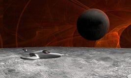 Cena e nave espacial do espaço Imagens de Stock Royalty Free