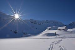 Cena em Romênia, paisagem bonita do inverno de montanhas Carpathian selvagens imagens de stock royalty free