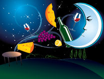 Cena en el claro de luna Imagen de archivo libre de regalías