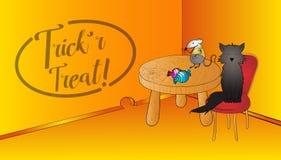 Cena engraçada de Dia das Bruxas com blackcat e rato e doces Texto da folha de prova da doçura ou travessura Fundo engraçado de D Imagens de Stock Royalty Free
