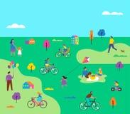 Cena exterior do verão com férias em família ativas, ilustração das atividades do parque com crianças, pares e famílias ilustração stock