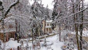 Cena feericamente do inverno, Ribarska Banja imagem de stock
