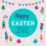 Cena feliz da Páscoa com famílias, crianças Evento da rua da Páscoa, festival e projeto justo Imagem de Stock