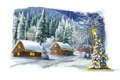 Cena feliz do inverno do Natal Imagem de Stock Royalty Free