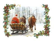 Cena feliz do inverno do Natal com quadro com o Papai Noel no trenó tradicional - com dois cavalos ilustração stock
