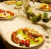 Cena festiva de la langosta Fotos de archivo libres de regalías