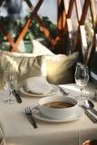 Cena fina de la sopa del camarón Imagenes de archivo