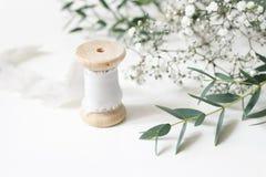 Cena floral feminino Close-up do carretel da fita de seda, respiração Gypsophyla das folhas do parvifolia do eucalipto e dos baby foto de stock