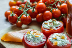 Cena fresca dei pomodori Fotografia Stock