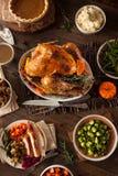 Cena hecha en casa completa de la acción de gracias Foto de archivo libre de regalías