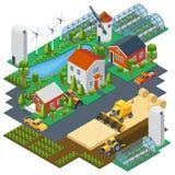 Cena isométrica da exploração agrícola Ajuste da vila com ilustração stock