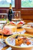 Cena italiana con los mariscos fotos de archivo libres de regalías
