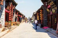 Cena-lojas e ruas de Pingyao fotos de stock