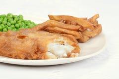 Cena macra del pescado frito con patatas fritas Fotografía de archivo