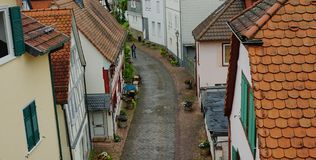 Cena medieval da rua no Homburg mau, Alemanha imagem de stock