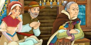 Cena medieval dos desenhos animados do casal com a criança pequena no berço ilustração royalty free