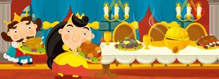 Cena medieval dos desenhos animados - imagem para contos de fadas diferentes - rainha na sala de jantar Fotografia de Stock