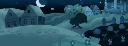 Cena medieval dos desenhos animados - viajante na noite ilustração do vetor