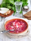 Cena, minestra ucraina dal borsch delle verdure Immagine Stock