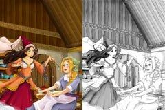 Cena na cozinha tradicional velha - duas mulheres dos desenhos animados que falam - menina bonita do manga - com página da colora Fotografia de Stock