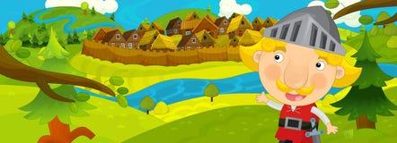Cena na vila velha - aldeões felizes dos desenhos animados completamente - fundo para o uso diferente - para o jogo ou o livro ilustração royalty free