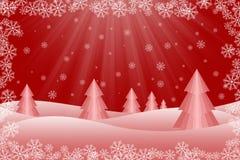 Cena nevado da árvore de Natal Fotografia de Stock