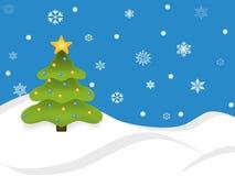 Cena nevado da árvore do feriado ilustração do vetor