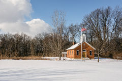 Cena nevado da casa da escola Foto de Stock