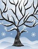 Cena nevado fria 2 da árvore do inverno Imagens de Stock Royalty Free