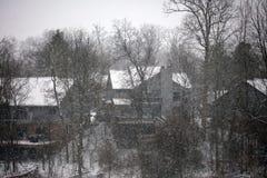 Cena nevando do inverno com casas e árvores no fundo Fotografia de Stock Royalty Free