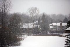 Cena nevando do inverno com casas e árvores no fundo Fotos de Stock Royalty Free