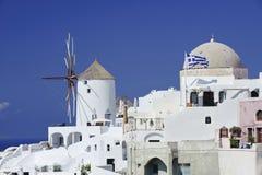 Cena no console de Santorini, Greece Fotos de Stock Royalty Free