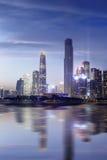 Cena nova da noite da cidade de Guangzhou Pearl River Foto de Stock