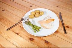 Cena orgánica sana suave del pollo Dieta baja en calorías aburrida FO fotos de archivo libres de regalías