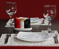 Cena para dos en el restaurante fotos de archivo