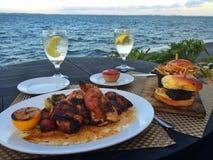 Cena por la bahía Fotografía de archivo libre de regalías