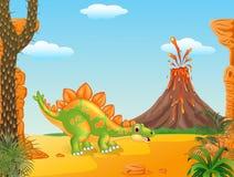 Cena pré-histórica com desenhos animados do stegosaurus Imagem de Stock Royalty Free