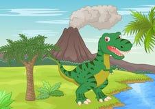 Cena pré-histórica com desenhos animados do tiranossauro ilustração royalty free