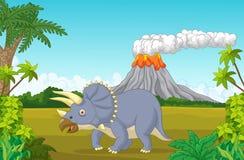 Cena pré-histórica com desenhos animados e vulcão do triceratops ilustração do vetor