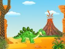 Cena pré-histórica com dinossauro do stegosaurus ilustração do vetor