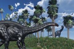 Cena pré-histórica com dinossauros Imagens de Stock