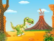 Cena pré-histórica com a mascote feliz do dinossauro do tiranossauro ilustração royalty free