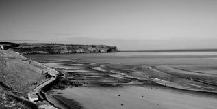 Cena preto e branco temperamental da praia Fotografia de Stock Royalty Free