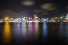 Cena refletida da noite do porto de Victoria Fotografia de Stock Royalty Free