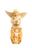 Cena religiosa da natividade com bebê Jesus e anjo Foto de Stock