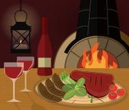 Cena romántica con un filete asado a la parrilla, verduras Imágenes de archivo libres de regalías