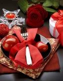 Cena romántica. Día de tarjeta del día de San Valentín Fotos de archivo